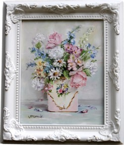 Original Painting - Flower Arrangement in an Old Tin - Postage is included in the price Australia wide