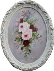 Original Painting - Oval Flower Arrangement - Postage is included in the price Australia wide