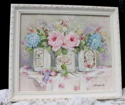 Original Painting - Vintage Bottles & Blooms - Postage is included in the price Australia wide