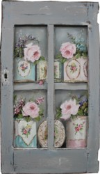 Original Painting on a rescued cupboard door - Vintage Tin Collection - Postage is included Australia wide