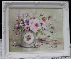 Original Painting - Vintage Tin & Flowers - Postage is included in the price Australia wide