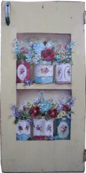 Original Painting on a rescued cupboard door - Mixed Flowers in Vintage Tins - Postage is included Australia wide