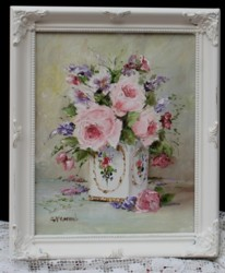 Original Painting - Roses & Blooms in a Vintage Tin - Postage is included in the price Australia wide