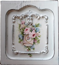 Original Painting on a rescued cupboard door - Hanging Flowers in a Vintage Tin - Postage is included Australia wide
