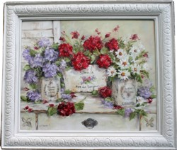 Original Painting - French Containers & Blooms - Postage is included in the price Australia wide