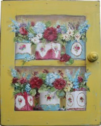 Original Painting - Vintage Tins & Flowers on Faux Door - Postage is included in the price Australia wide