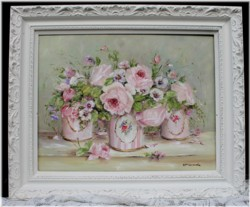 Original Painting - Vintage Tins & Flowers Arrangement - Postage is included in the price Australia wide