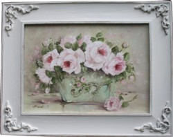 Original Painting - Roses in a Tin Planter - Postage is included in the price Australia wide