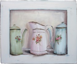 Original Painting - Vintage Enamel Ware - Postage is included in the price Australia wide