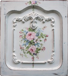 Original Painting on a rescued cupboard door - Vintage Inspired Flowers - Postage is included Australia wide