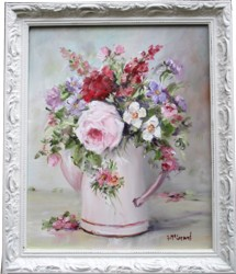 Original Painting - Flowers in a Pink Enamel Pot - Postage is included in the price Australia wide