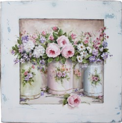 Original Painting - Enamel Containers and Flowers - Postage is included in the price Australia wide