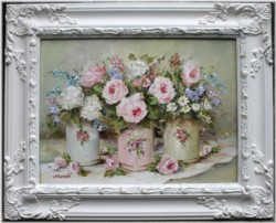 Original Painting - Tins & Flowers - Postage is included in the price Australia wide