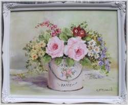 Original Painting - Flowers in a French Pail - Postage is included in the price Australia wide