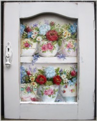 Original Painting on a rescued cupboard door - Mixed Flowers in Vintage Tea Cups - Postage is included Australia wide