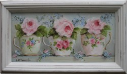 Original Painting - Vintage  Tea Cup Trio - Postage is included in the price Australia wide