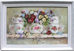 Original Painting - Flowers and Tea Cups - Postage is included in the price Australia wide