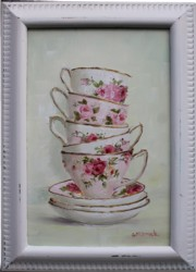 Original Painting - Pink & White Stacked Tea Cups - Postage is included in the price Australia wide