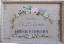 Original Painting on a Vintage Tray - Flowers for Sale - Postage is included in the price Australia wide