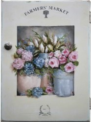 Original Painting on a rescued cupboard door - Farmers Market - Postage is included Australia wide