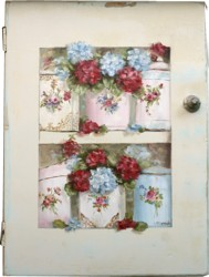Original Painting on a rescued cupboard door - Enamel Ware, Hydrangeas and Geraniums - Postage is included Australia wide