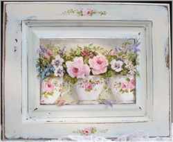 Original Painting on a Timber Panel - Tea Cups & Flowers - Postage is included Australia wide