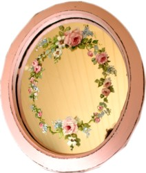 Hand Painted Flowers on a Pink Mirror - Postage is included Australia Wide