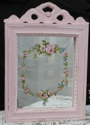 Hand Painted Flower design on a Pink Mirror - Postage is included Australia Wide