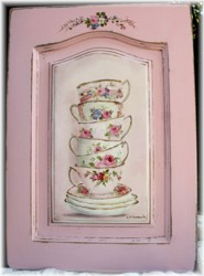 Original Painting on a Timber Panel - Stacked Tea Cups - Postage is included Australia wide