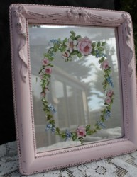 Hand Painted Floral design on a Pink Mirror - Postage is included Australia Wide