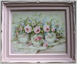 Original Painting - Flower Arrangement in Tea Cups - Postage is included in the price Australia wide