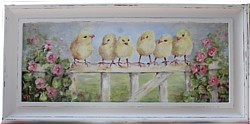 Original Painting - Little Chickies all in a row - Postage is included in the price Australia wide