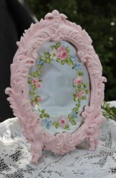 Hand Painted Flower design on a ornate pink mirror - Postage is included Australia Wide