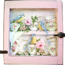 Original Painting on an Old Cupboard door - Birds & Tea Cups - Postage is included Australia wide