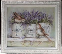 Original Painting - French Containers and Birds - Postage is included in the price Australia wide