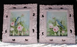 Pair of Original Paintings - Birds on Picket Fence - Postage is included in the price Australia wide