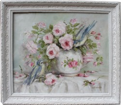 Original Painting - Jug of Roses and Birds - Postage is included in the price Australia wide