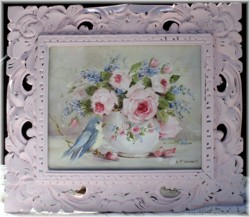 Original Painting - Bird and Flower Arrangement - Postage is included in the price Australia wide