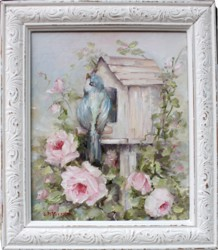 Original Painting - Bird House & Roses - Postage is included in the price Australia wide