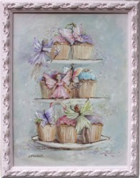 Original Painting - Cup Cake Fairies - Postage is included in the price Australia wide