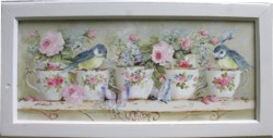 Original Painting - Birds, Butterflies and Tea Cups - Postage is included in the price Australia wide