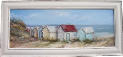 SOLD-Original Painting - Beach Huts - Postage is included in the price Australia wide