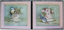 Pair of Original Paintings - Birds in Tea Cups - Postage is included in the price Australia wide