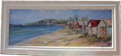 SOLD-Original Painting - Morning Light Beach Huts - Postage is included in the price Australia wide