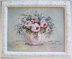 Original Painting - Pink Bowl of Flowers - Postage is included in the price Australia wide