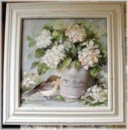 Mixed Media/Original Painting - French Pot, Bird & Hydrangea - Postage is included in the price Australia wide