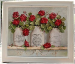 Mixed Media/Original Painting - French Mustard Pots & Geraniums - Postage is included in the price Australia wide