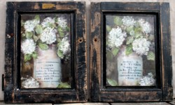 Sold -Mixed Media/Original Painting - Pair of cupboard doors French Pots - Postage is included in the price Australia wide