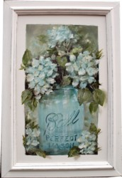 Mixed Media/Original Painting - Hydraneas in a Mason Jar - sold