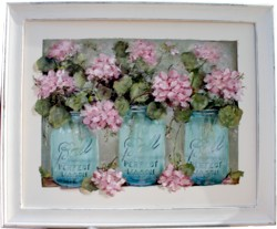 Mixed Media/Original Painting - Mason Jars & Flowers - SOLD out